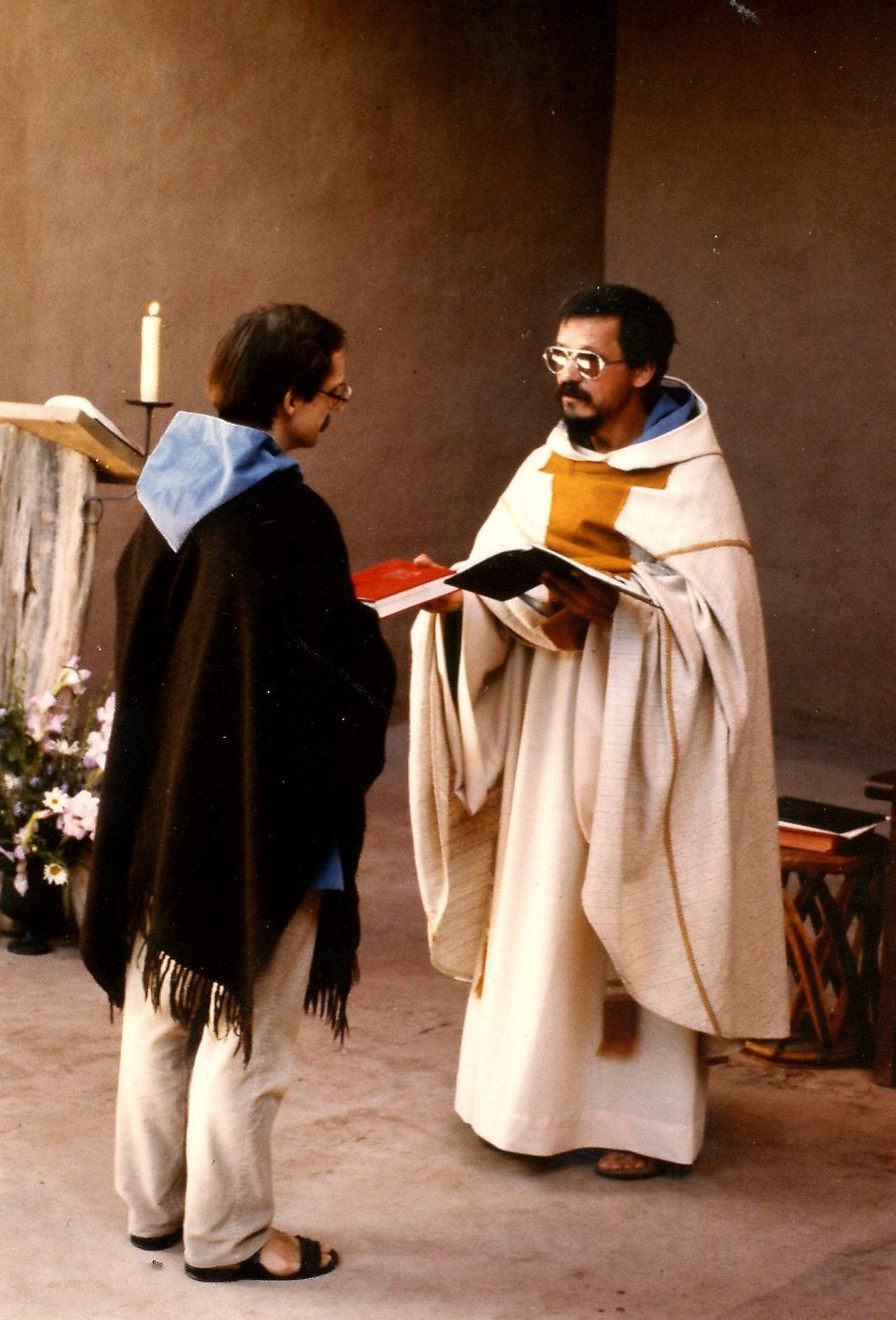 Abbot Philip receiving Temporary Vows from Dom Andre (the present guestmaster) in 1984