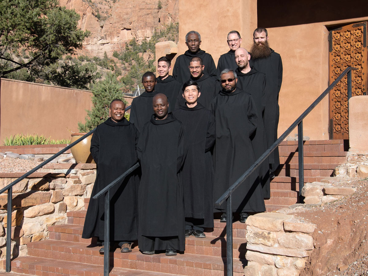 The monks who have taken temporary vows pose for their photograph, 2015