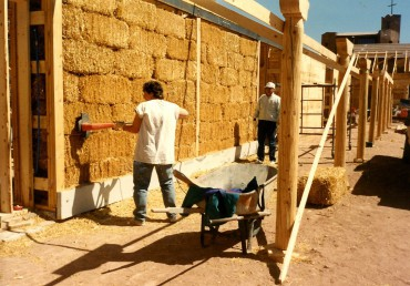 Straw bale construction of cloister