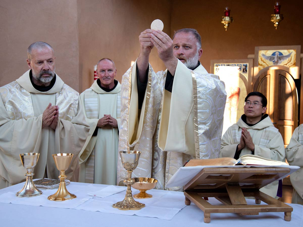 The Body of Christ made present in Holy Mass is shown for adoration