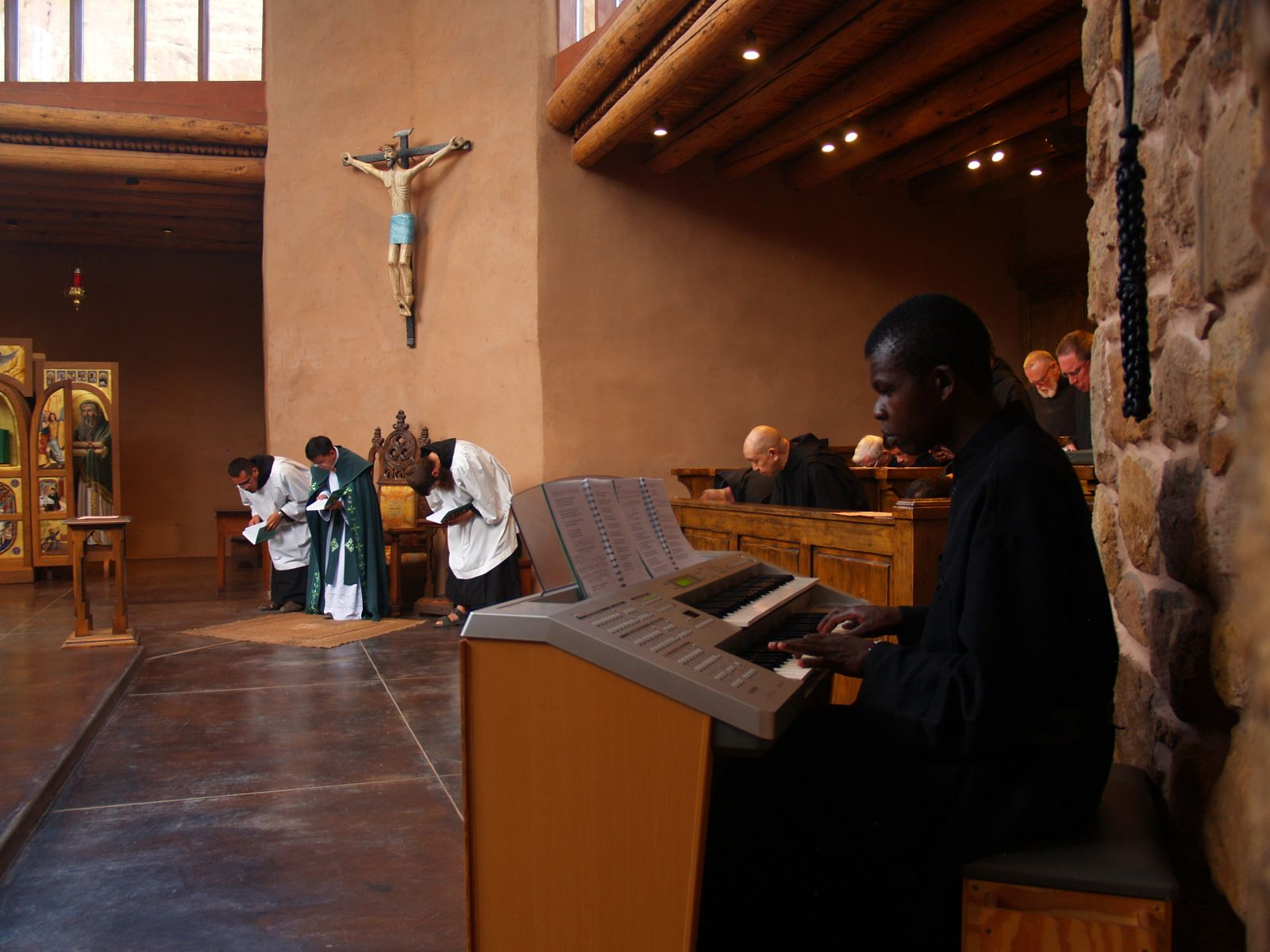 Brother plays organ for Sunday Vespers