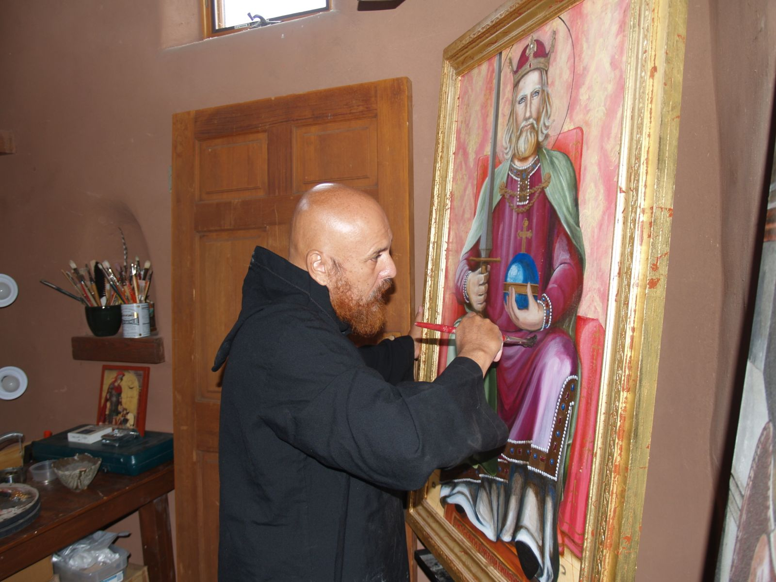 Brother working in art studio