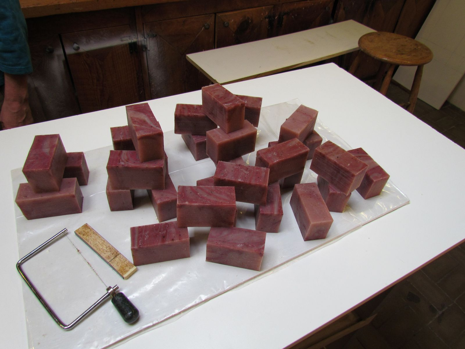 Rose soap waiting for packaging